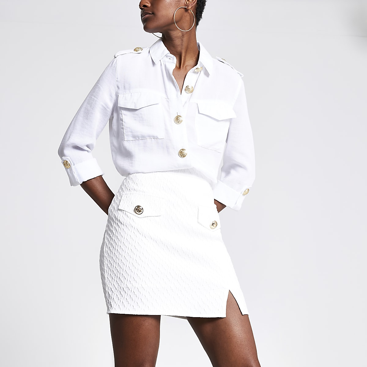 White textured  A-Line mini skirt