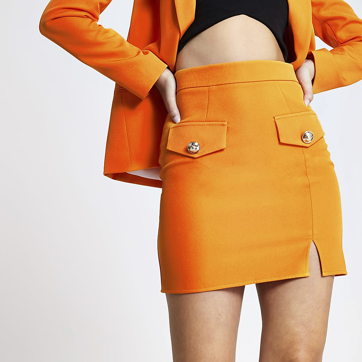 Orange A line mini skirt