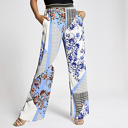 Blue print elasticated waist wide leg trouser