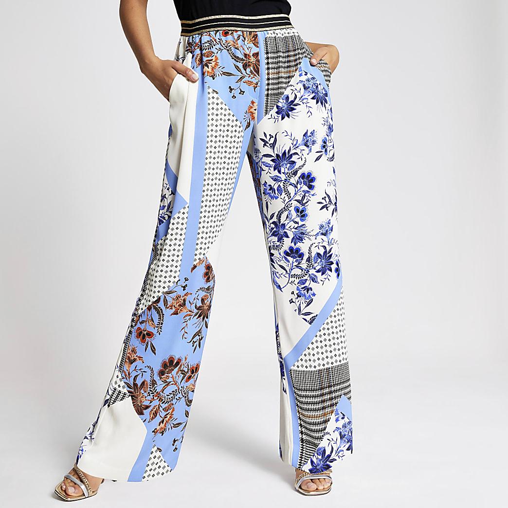 Pantalon large imprimé bleu à taille élastique