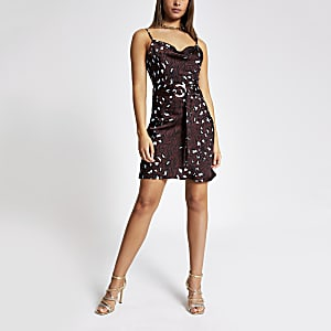 Brown printed cowl neck belted slip dress