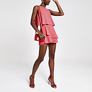 Bright pink frill playsuit