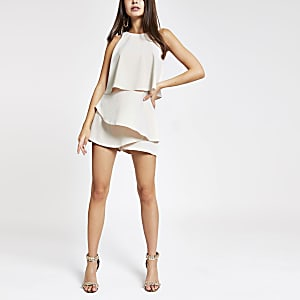 Beige layered playsuit