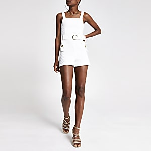 White textured belted waist playsuit