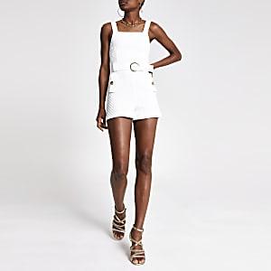 Combi-short blanc texturé à ceinture