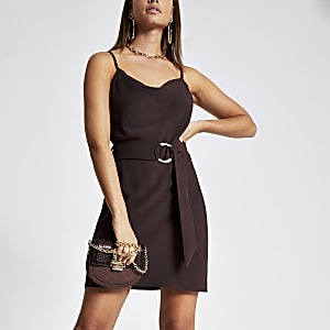 Dark brown cowl neck belted slip dress