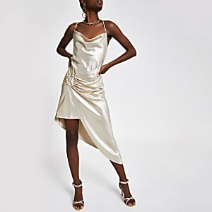 Gold asymmetric slip dress