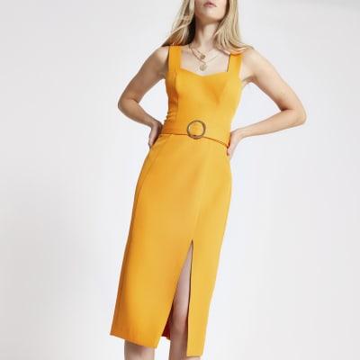 Orange belted bodycon midi dress