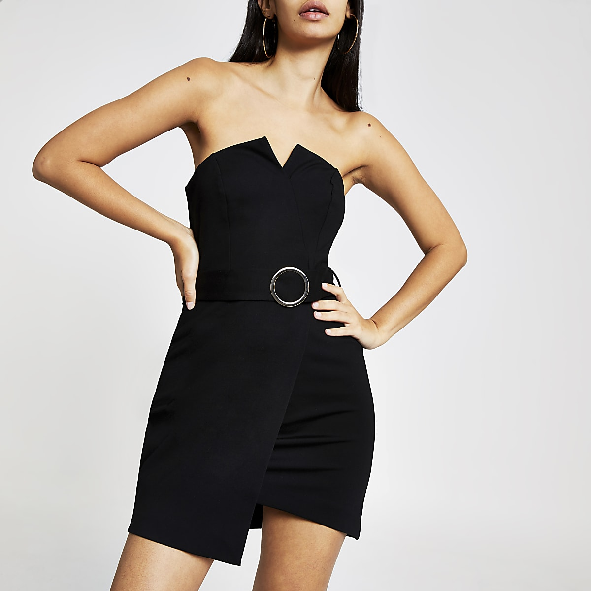 Black belted mini dress