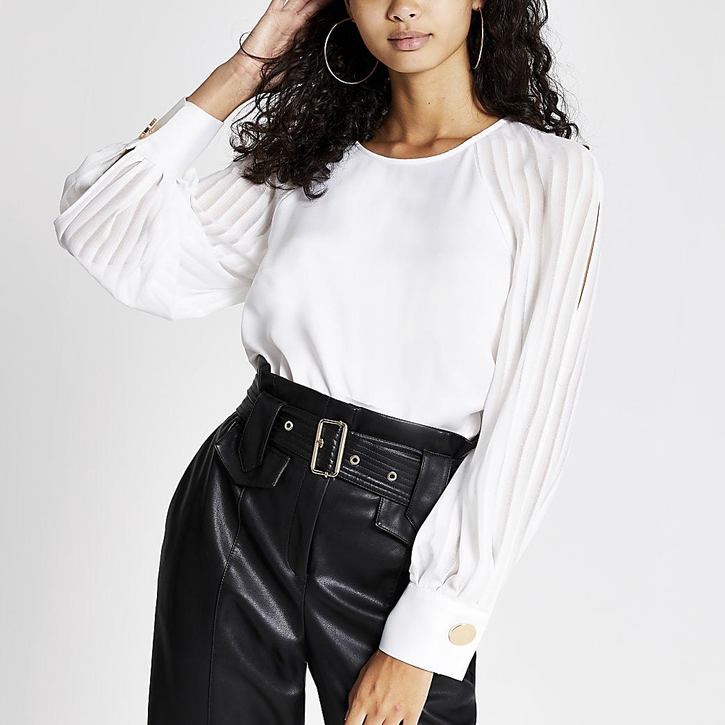 White long sheer stripe split sleeve top