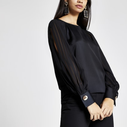 Black pleated split long sheer sleeve top