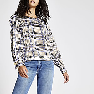 Blue check long split sleeve top