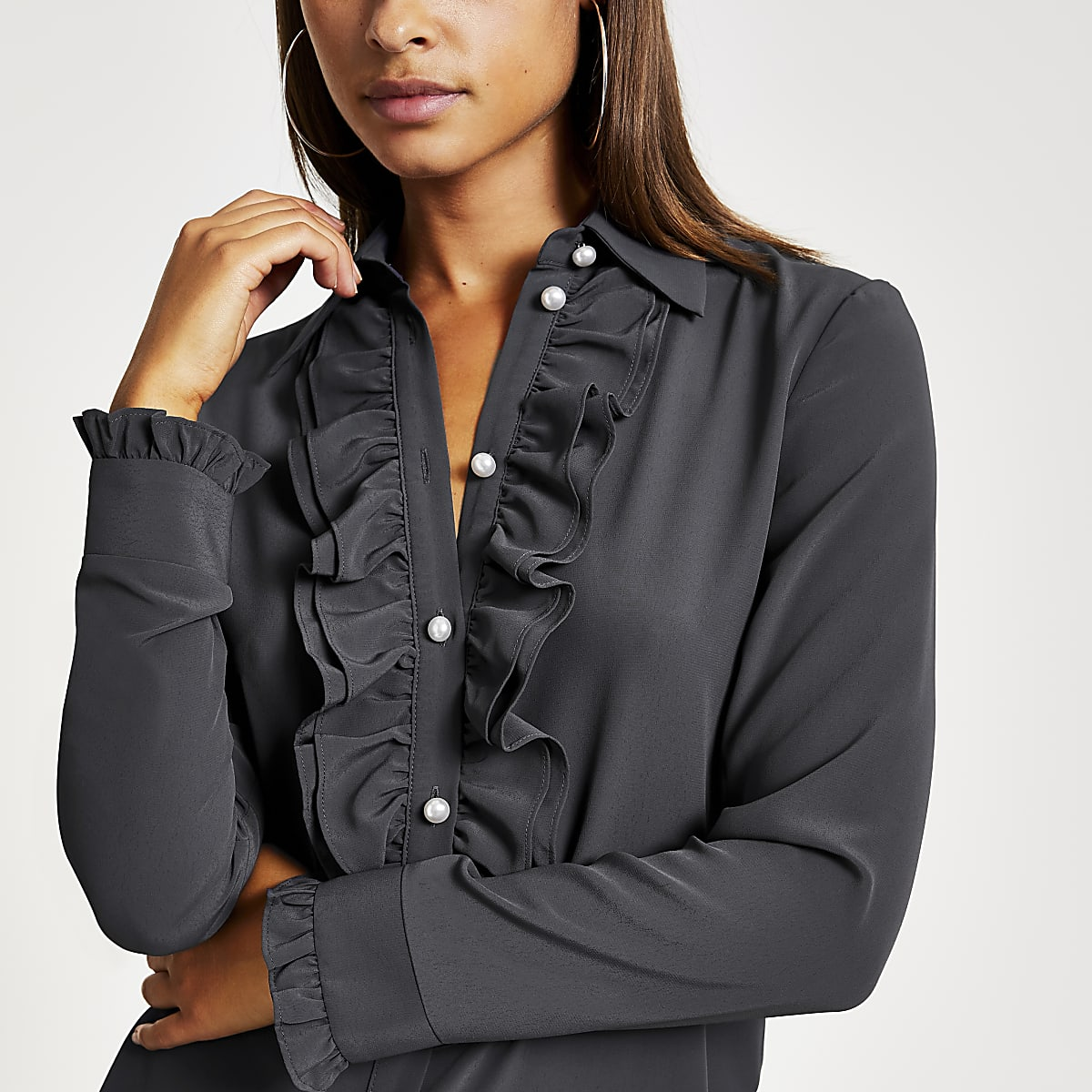 Grey pearl button frill front shirt