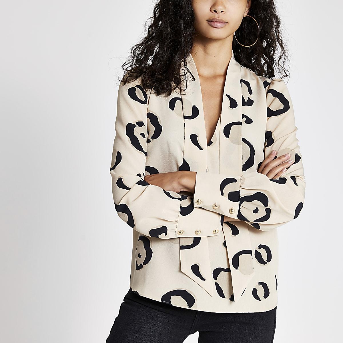 Cream leopard print tie neck blouse