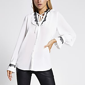 White lace trim tie neck blouse