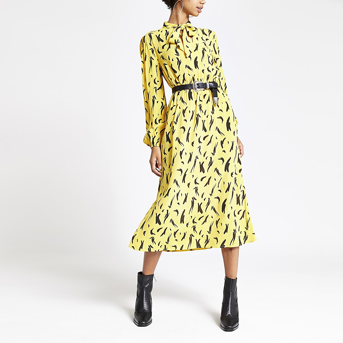Yellow print tie neck waisted midi dress
