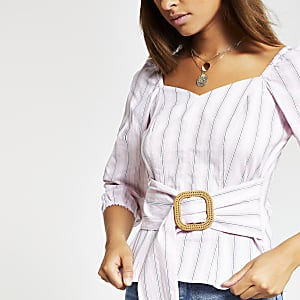 Pink stripe belted puff sleeve top