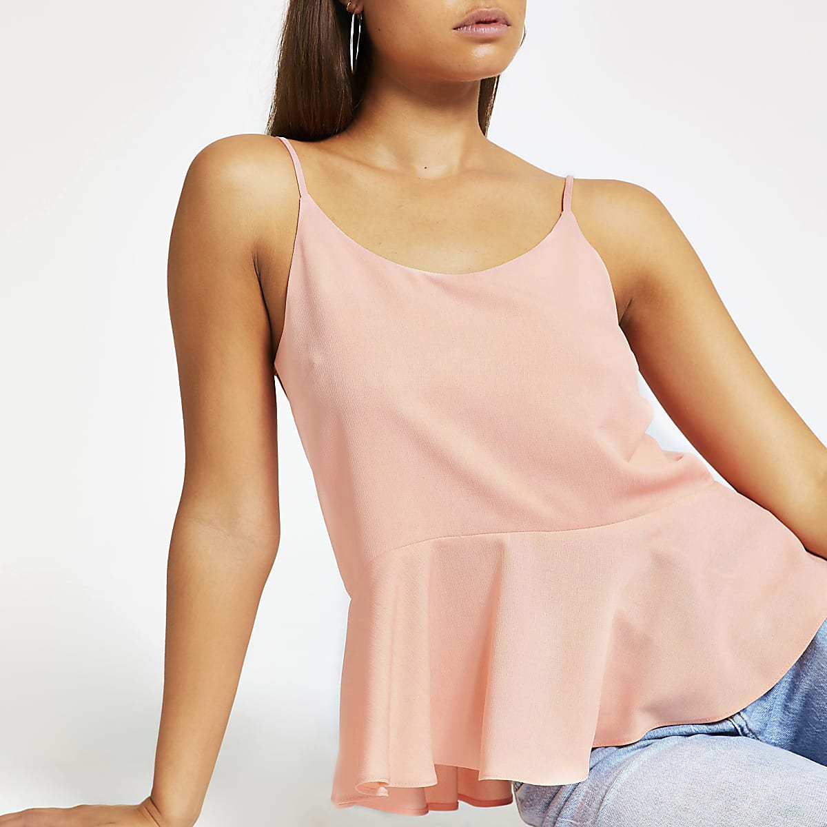 b7b1c56ce8a46f Light pink peplum hem cami top - Cami / Sleeveless Tops - Tops - women