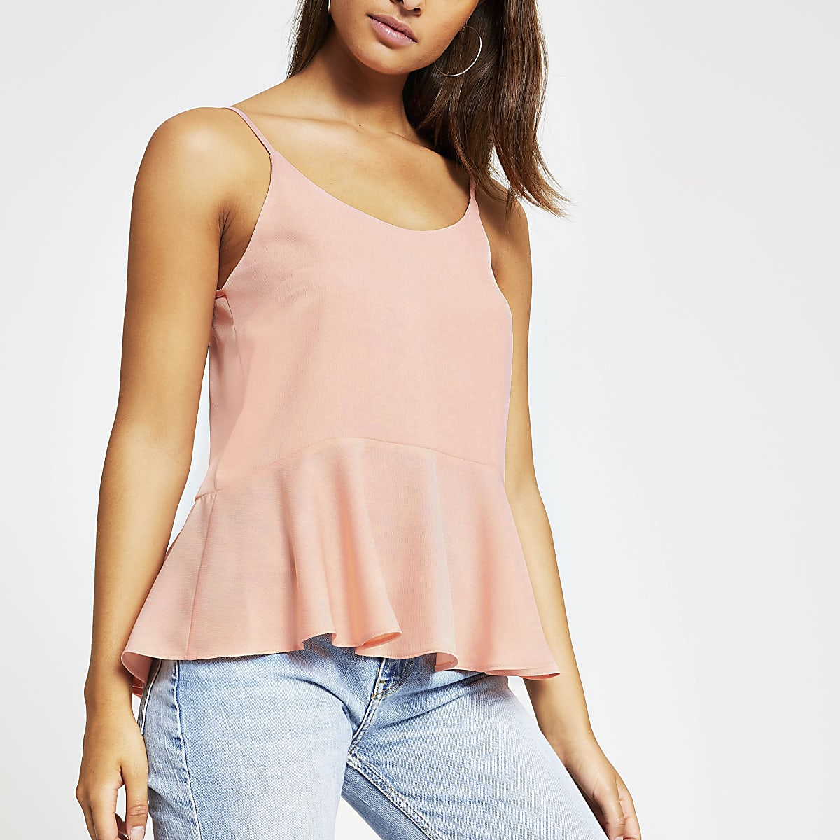 Light pink peplum hem cami top