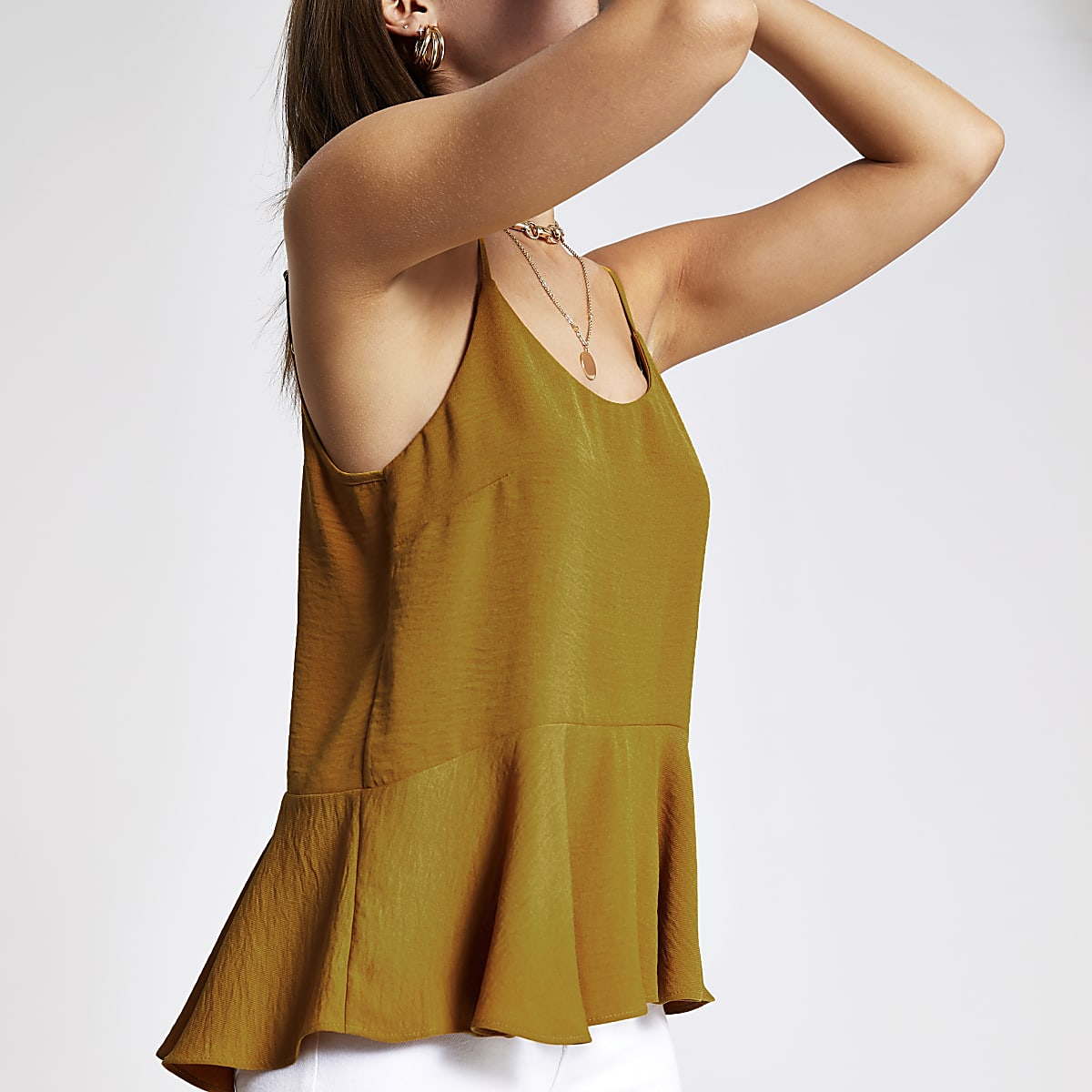 Yellow peplum hem cami top