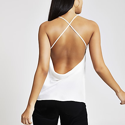 White cowl back cami top