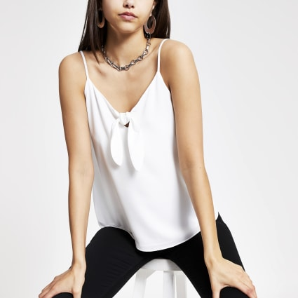 White bow front cami top