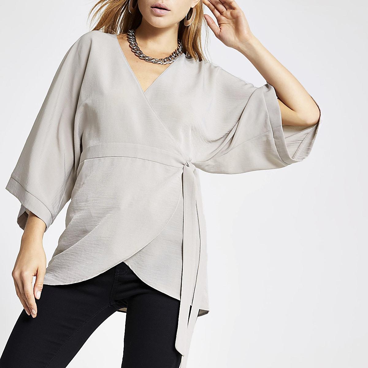 Grey kimono tunic top
