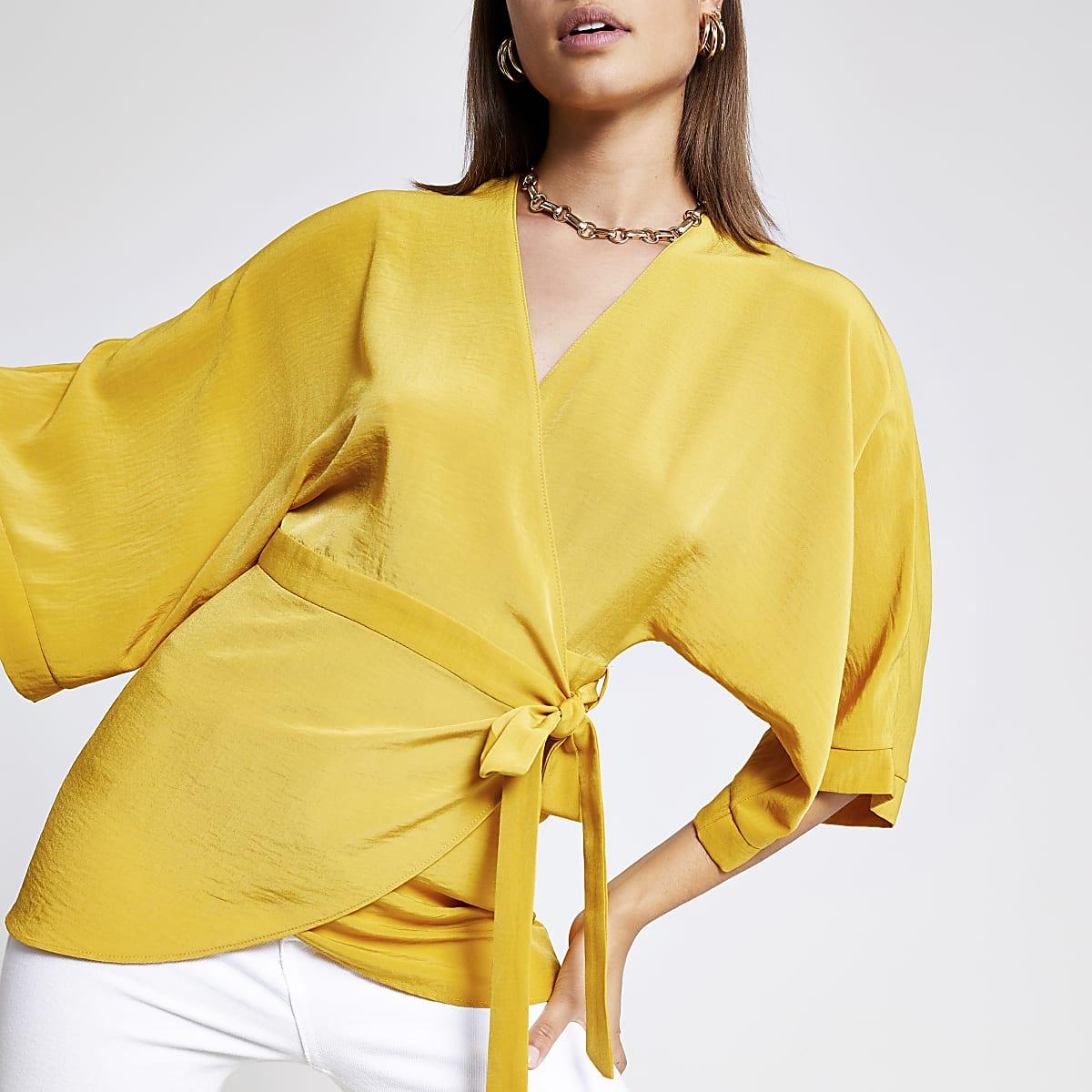 Yellow wrap tunic top