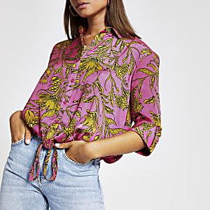 Pink print drawstring shirt