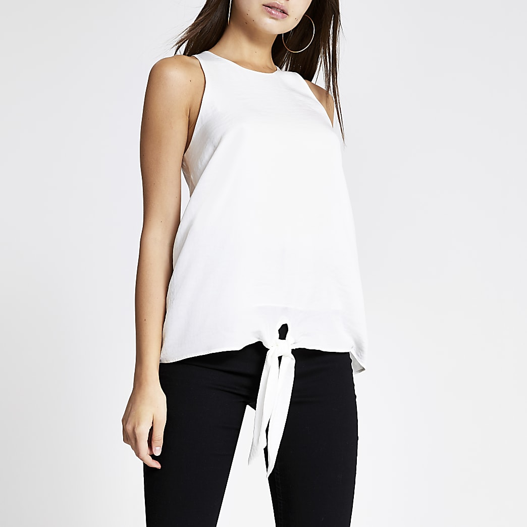 White knot front tank top