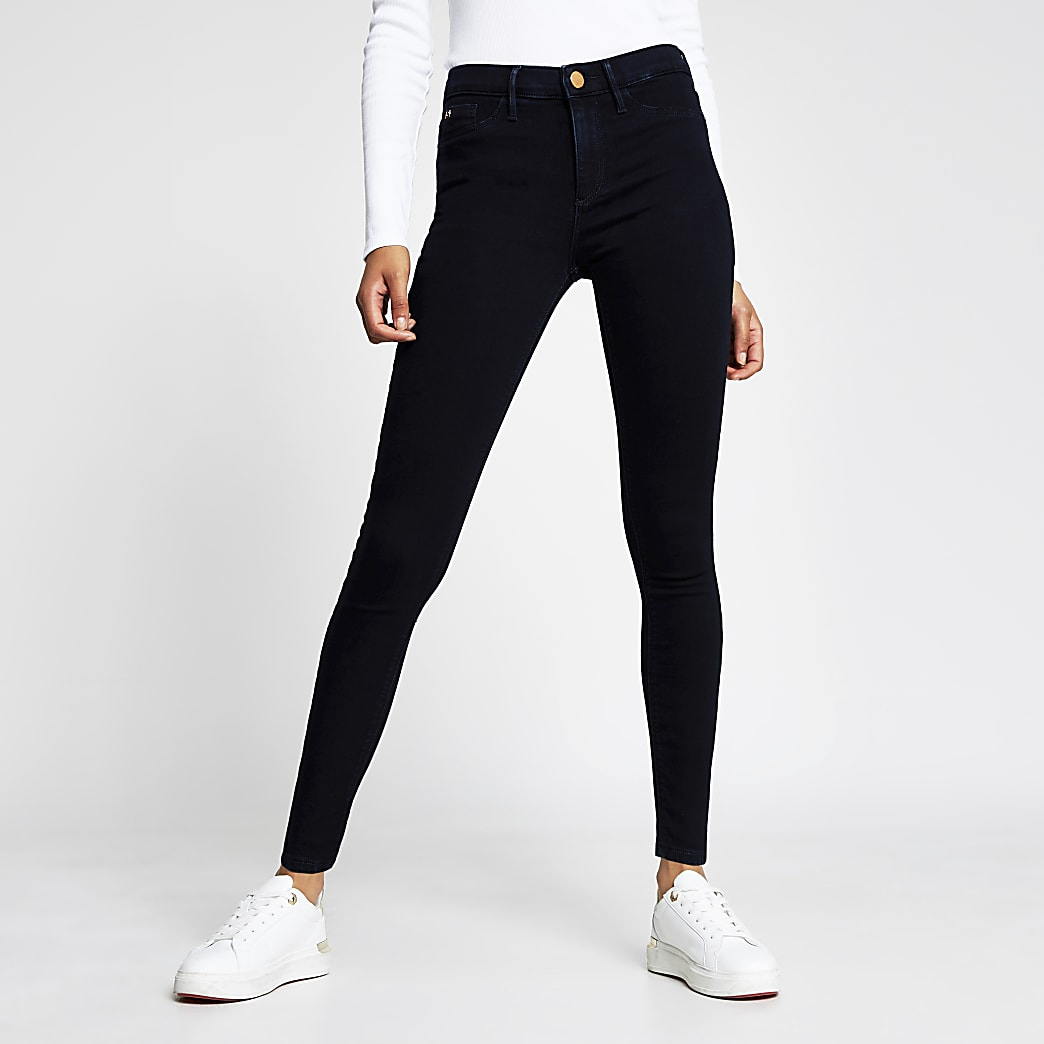 Molly - Marineblauwe jegging met halfhoge taille