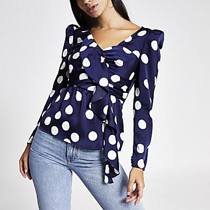 Blue polka dot long sleeve top