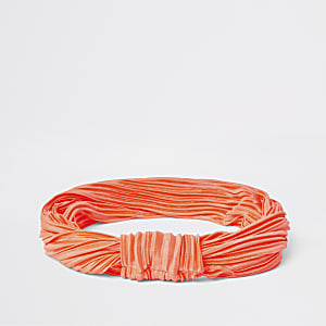 Neon orange plisse knot headband