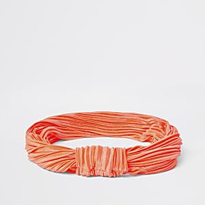 Neonoranje plissé haarband met knoop