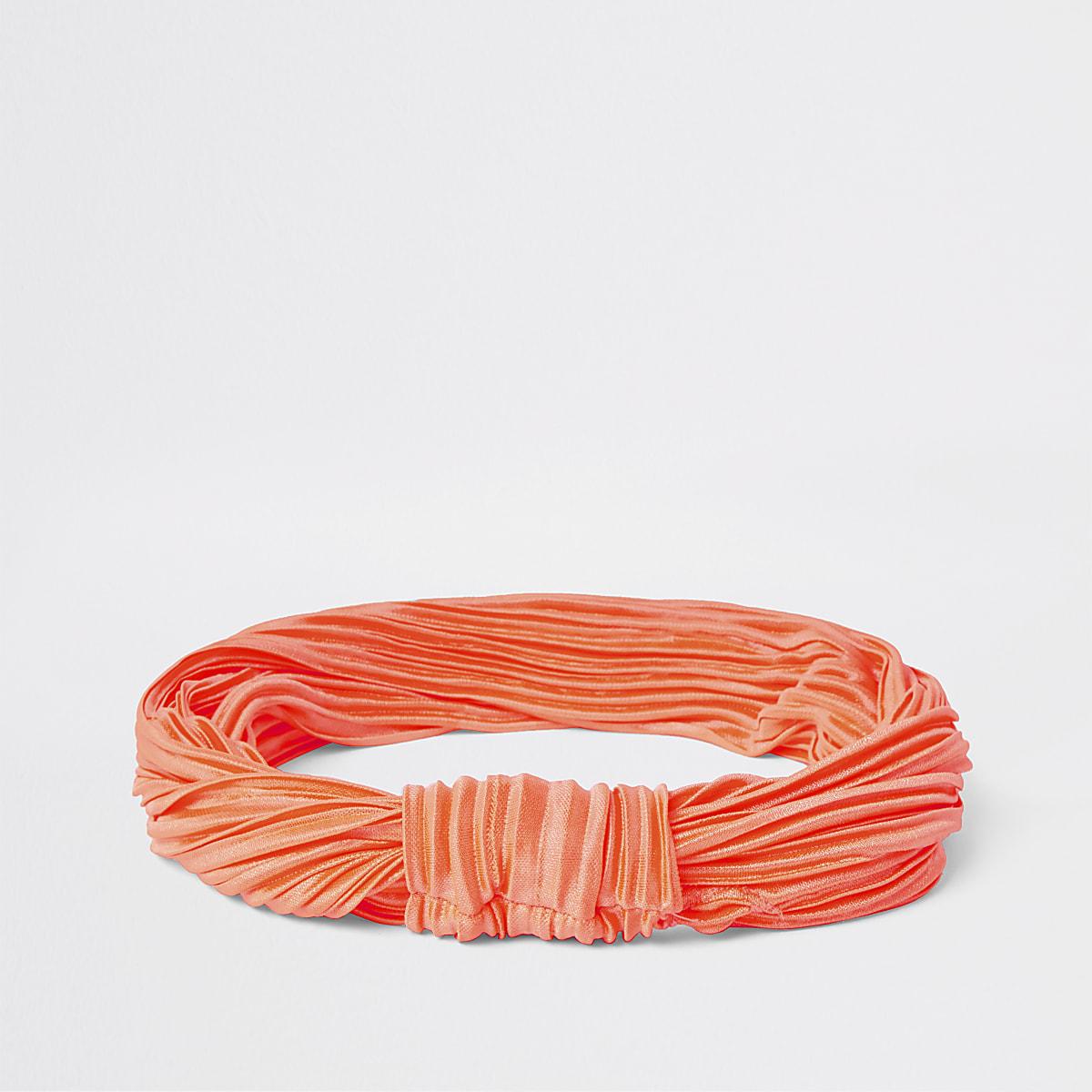 Neon orange plisse knot headband