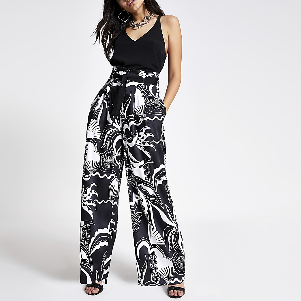 Zwarte broek met wijde pijpen en print