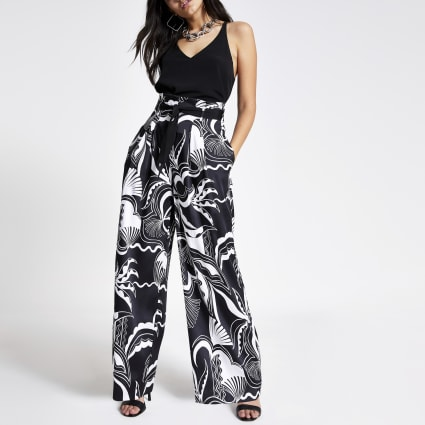 Black print wide leg trousers