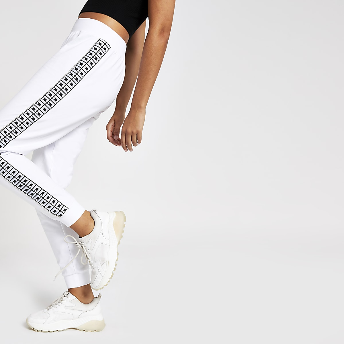White diamante RI joggers
