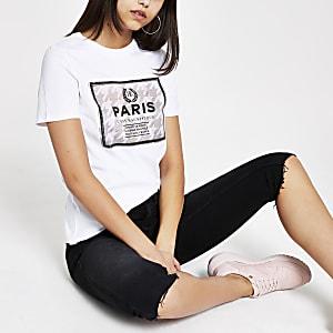Wit T-shirt met pied-de-poule-motief en pailletten