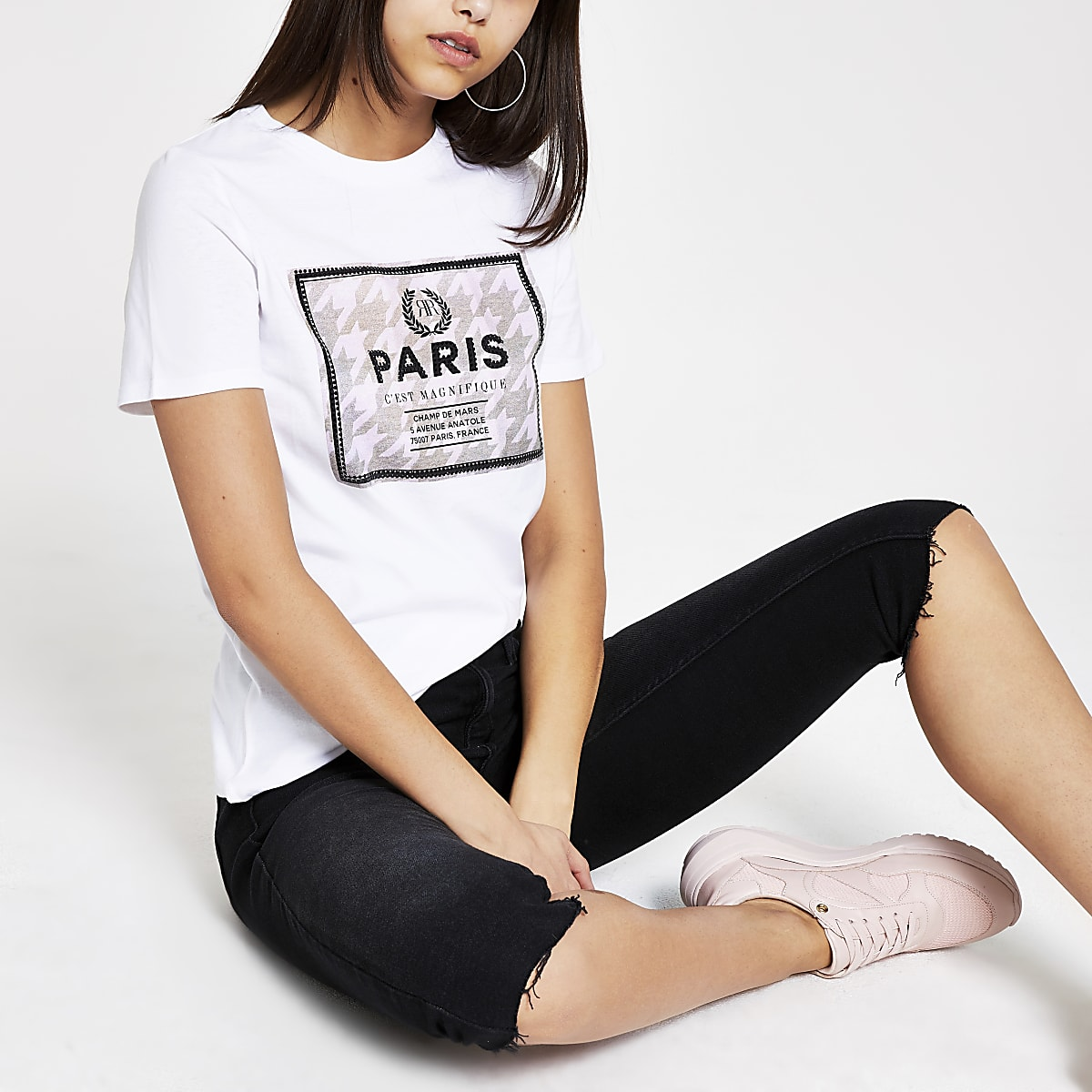 White dogtooth sequin print T-shirt