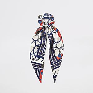 Chouchou imprimé foulard bleu