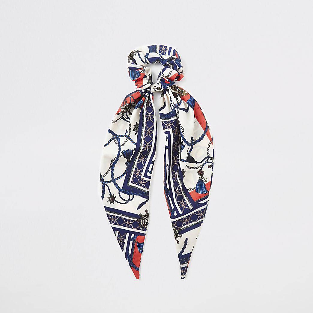 Blue scarf print hair scrunchie