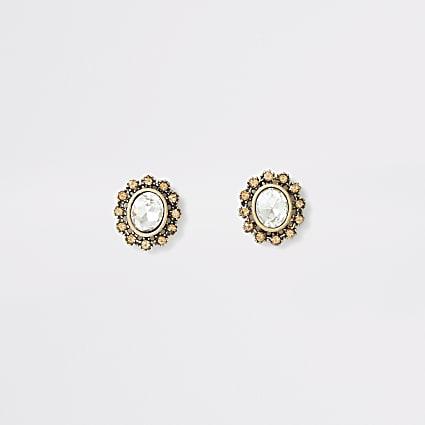 Gold colour oval crystal stud earrings