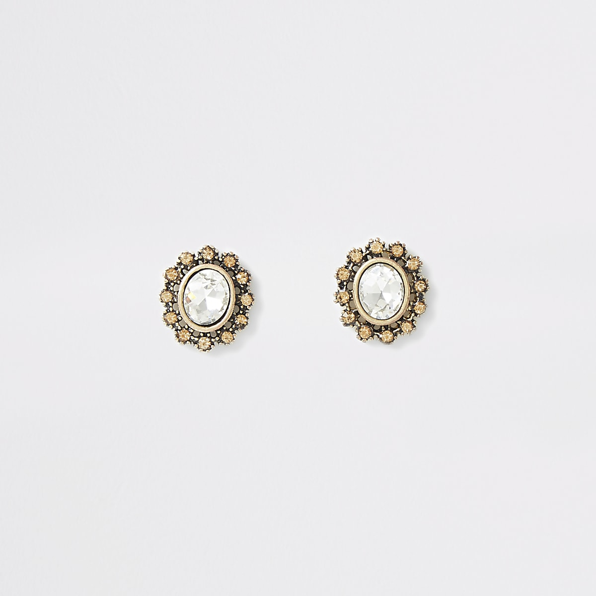Gold colour oval crystal stud earrings