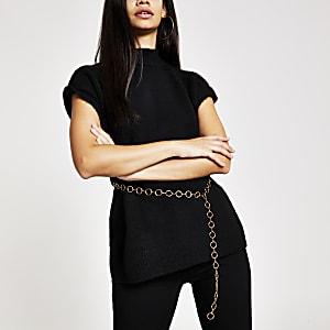 Top en maille noir avec ceinture à maillons