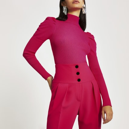 Bright pink long puff sleeve high neck top
