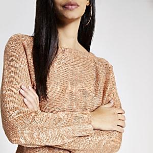 Goudkleurige gebreide cropped pullover met lovertjes