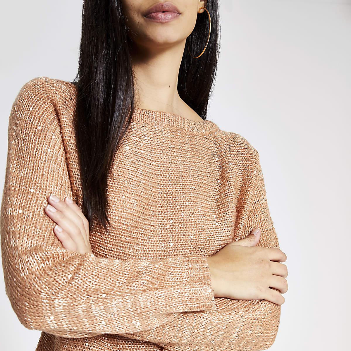 Gold sequin embellished knitted crop jumper