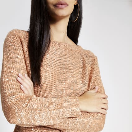 Gold sequin embellished knitted crop jumper