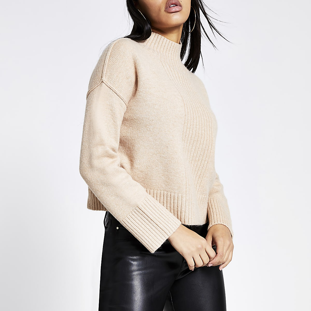 Beige high neck cropped knitted jumper